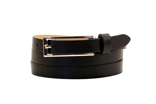 Черный кожаный ремень с длинной пряжкой