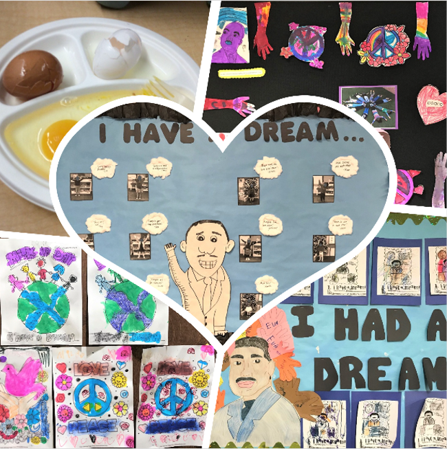 "A collage of different ""I Have A Dream"" boards that students made in honor of Martin Luther King Jr."