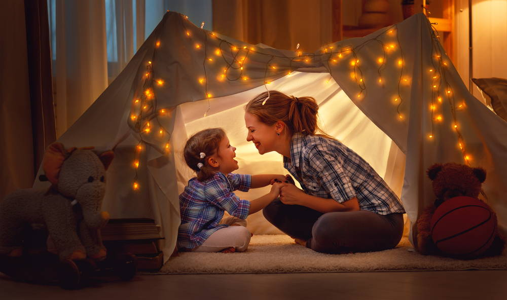 Mother and Child in Blanket Fort
