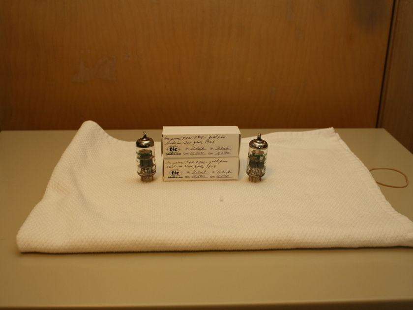 Amperex JAN 7308 NOS Matched Pair Gold Pin 1968