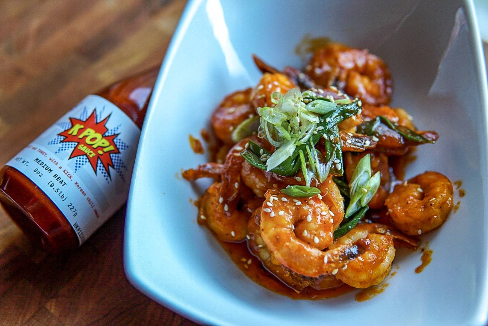 spicy honey butter shrimp with kpop marinade