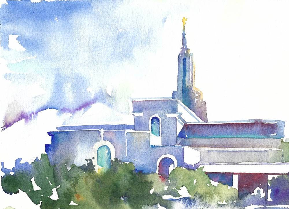LDS art water color painting of the Mount Timpanogos Temple.