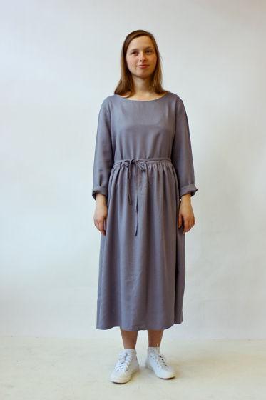 платье с завязками, сероголубое