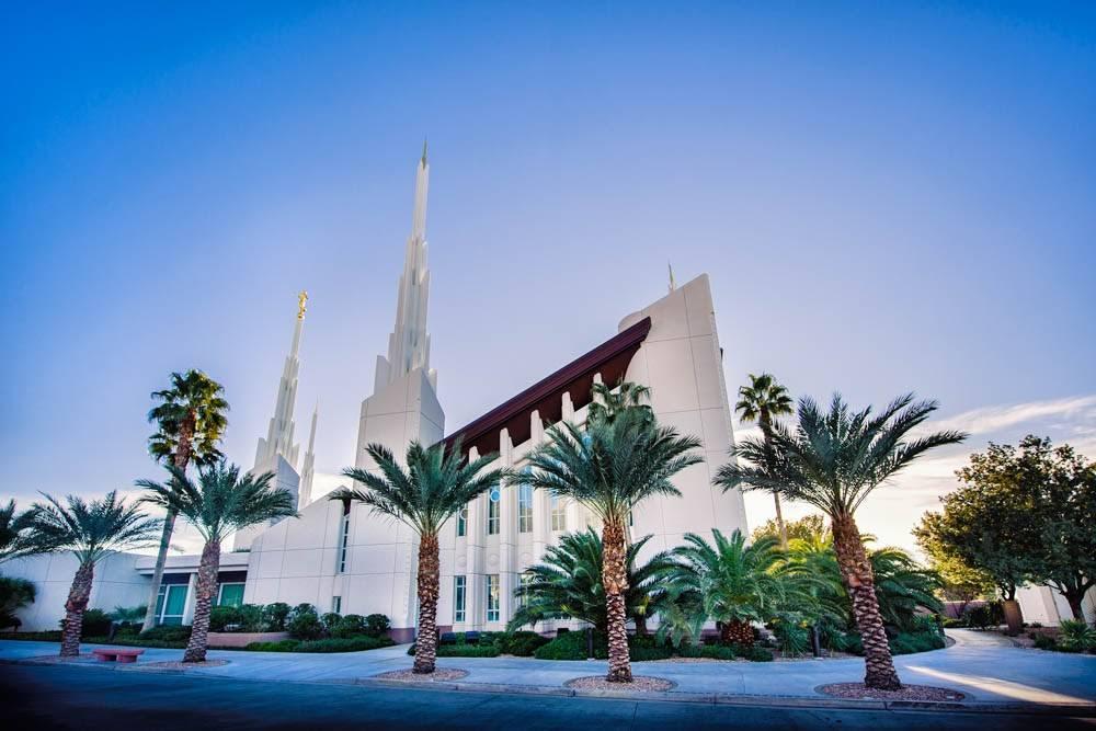 Photo of Las Vegas Nevada LDS Temple beneath a clear sky.