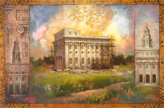 Triptych showing the Nauvoo Temple blueprints, the fire, and the restoration.