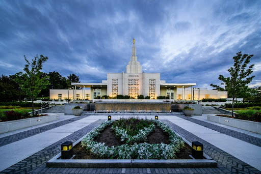 Photograph of the front Idaho Falls Temple grounds.
