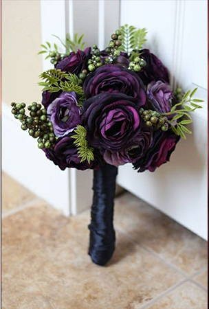 Black green and purple flower bouquet