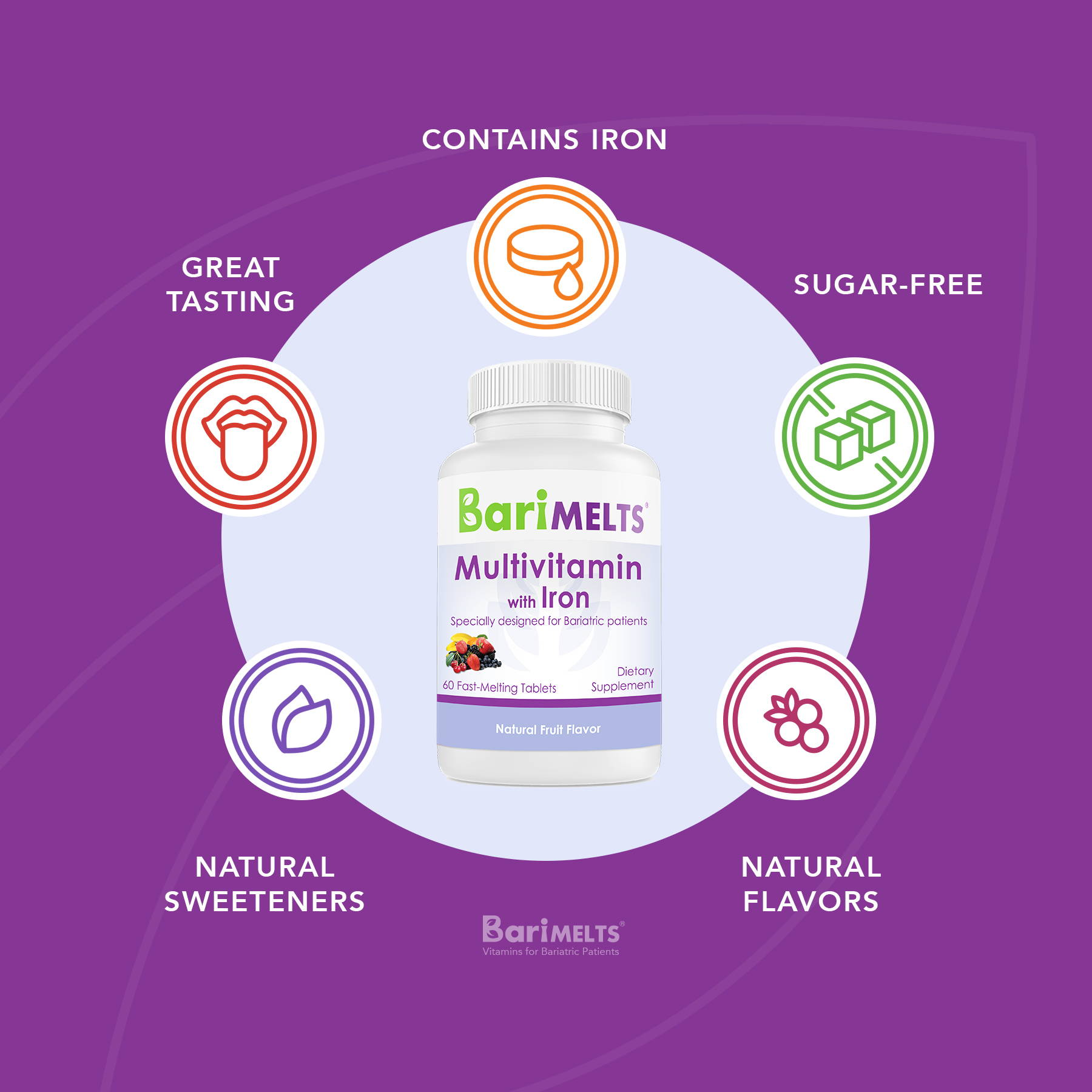 Multivitamin with iron is sugar free with natural flavors, natural sweeteners and great tasting