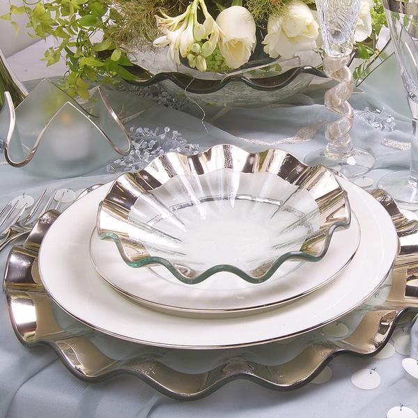 ruffle collection, 24kt gold platinum rimmed dinnerware