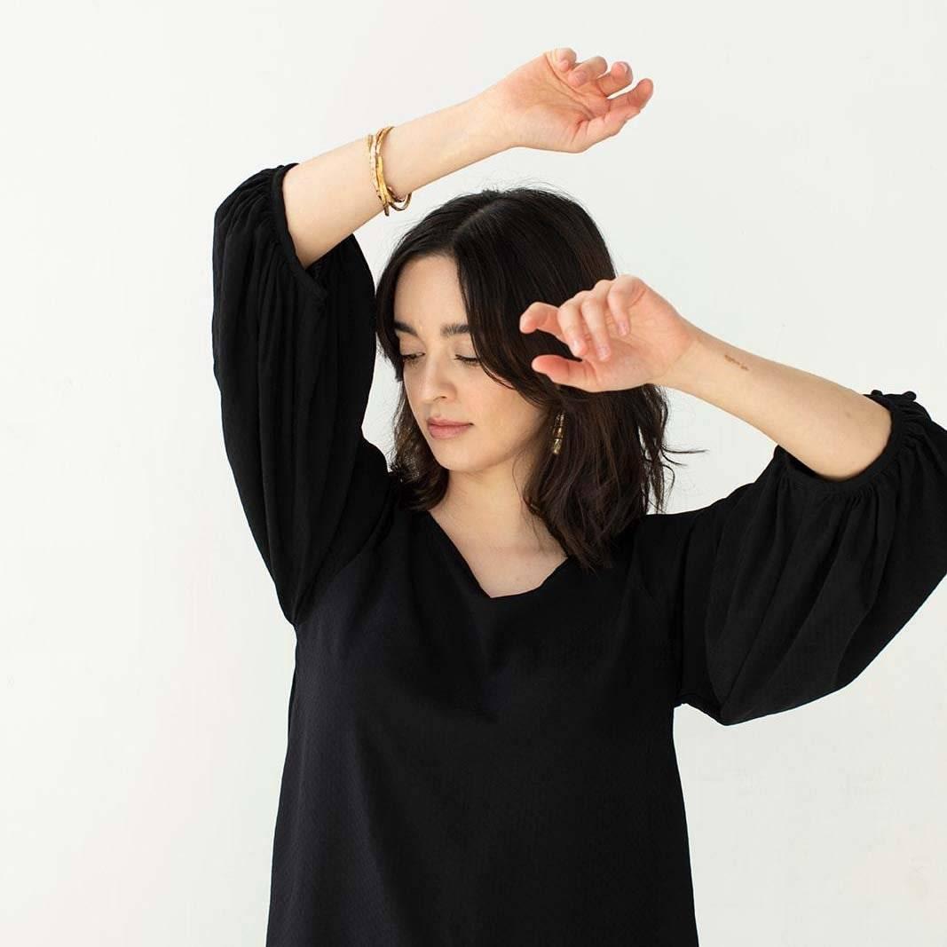 Black Masako Blouse on model