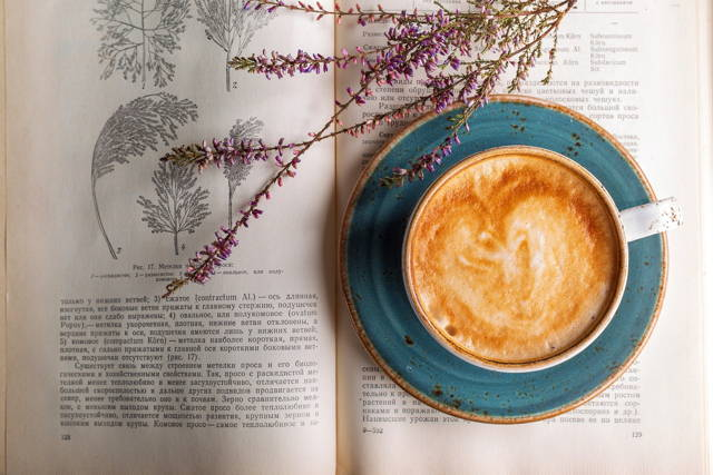 Coffee and lavender on the book