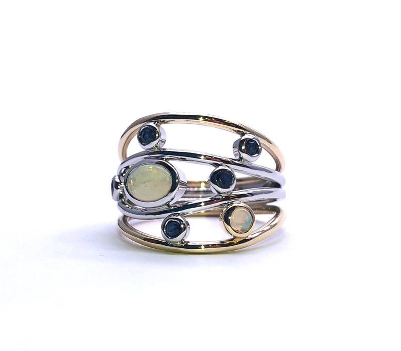 2-tone gold starry night ring with opal and sapphire