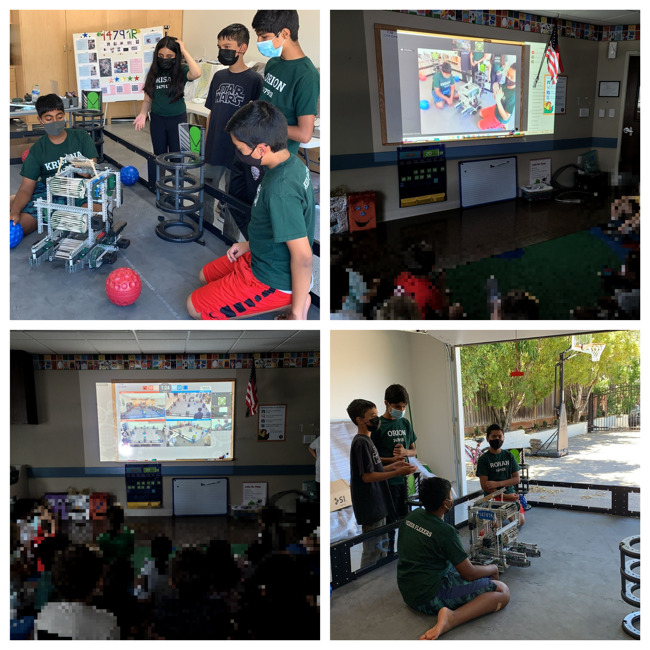 Collage of robotics team demonstrating their robot and children in the classroom watching virtually