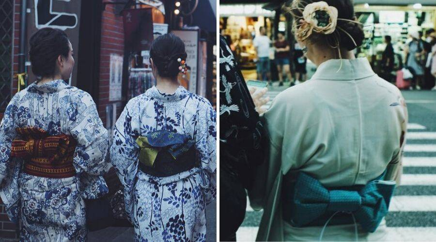 3 women wearing hanhaba obi with yukata
