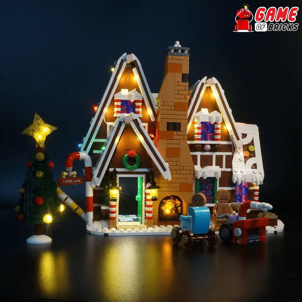 lego gingerbread house led lights