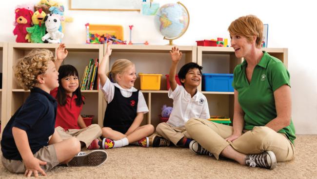 image of children sitting around a teacher