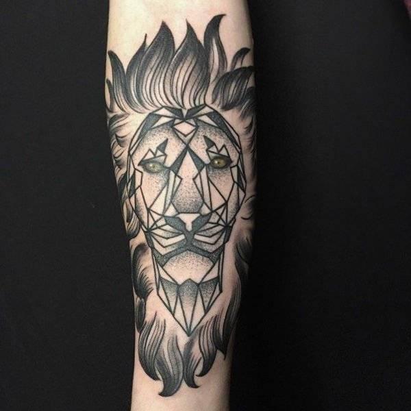Tatouage Lion Geometrique Avant Bras