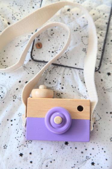 Детский деревянный фотоаппарат фиолетовый