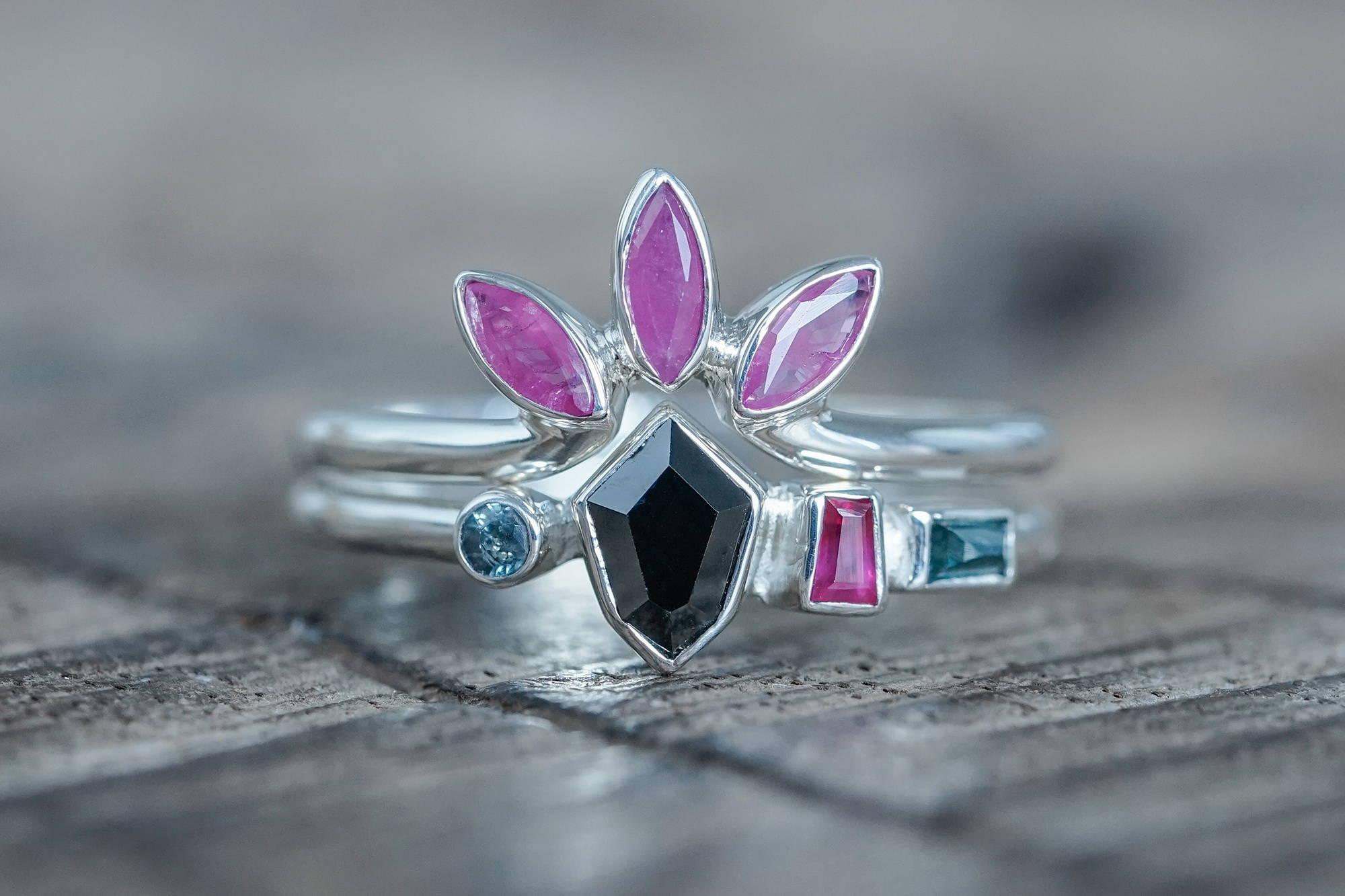 Custom recycled silver birthstone ring