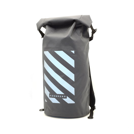 Вместительный рюкзак со светоотражающим принтом / Big grey RollTop Backpack