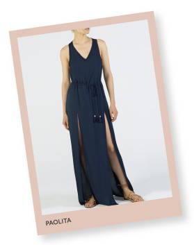 Paolita Solid Navy maxi dress