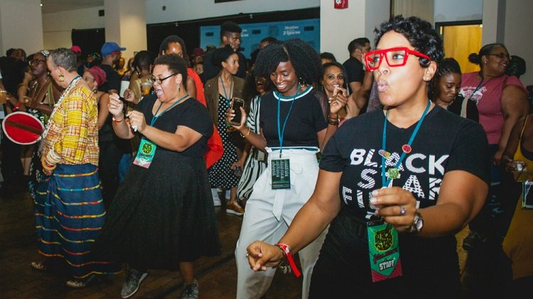 Filmmakers dancing at the BlackStar Film Festival in 2018.