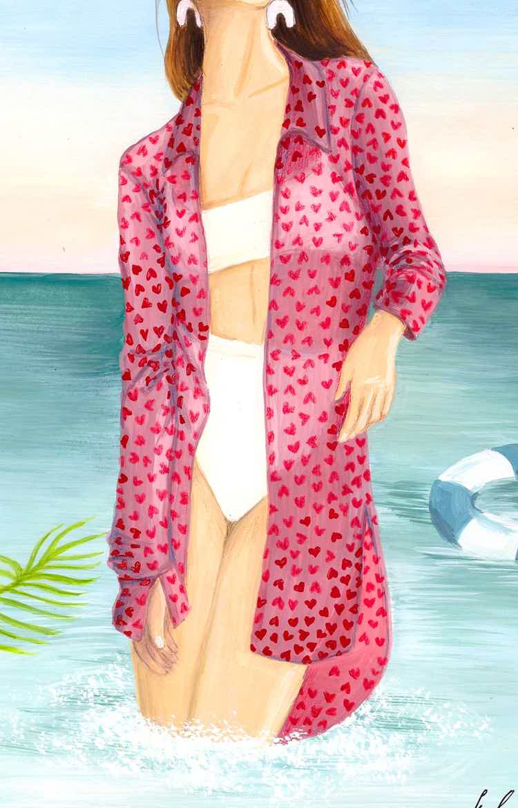 Пляжная рубашка в сердцах