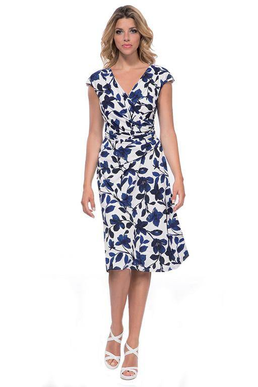 MICHAELA LOUISA 8454 BLUE FLORAL PRINT DRESS