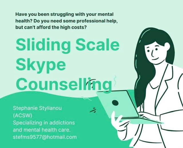 Have you been struggling with your mental health?  Do you need some professional help, but can't afford the high costs? Sliding Scale Skuype Counselling available with Stephanie Stylianou
