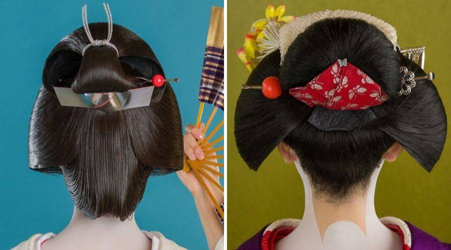 Geisha from behind and maiko from behind showing the difference of makeup and hairstyle