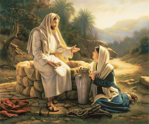 Painting of Jesus teaching the woman at the well.
