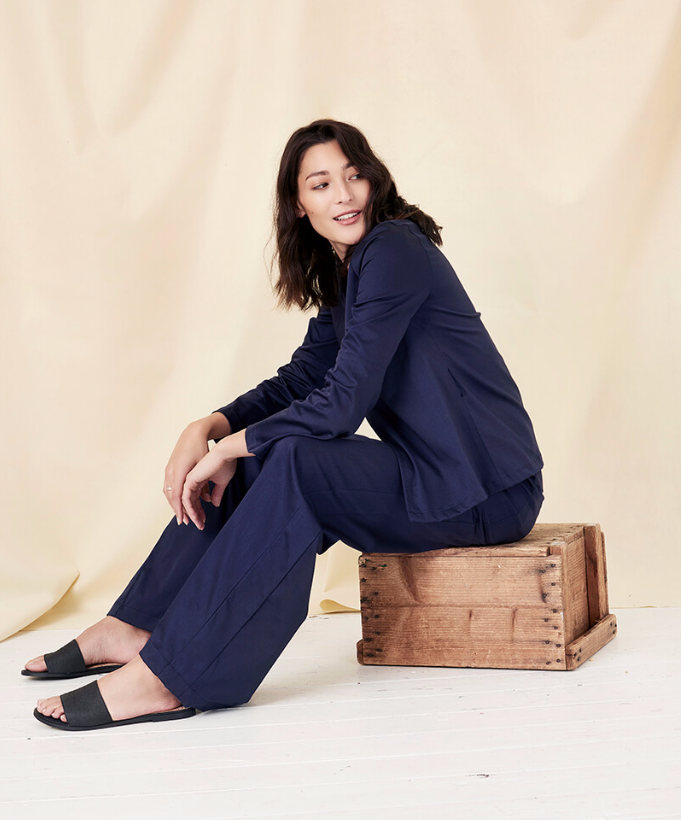 BYEM Organic and Ethical Navy Flare Pants and Navy Wrap Blouse Jacket