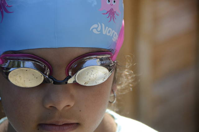 Swimmer wearing a missile swim goggle from Vorgee