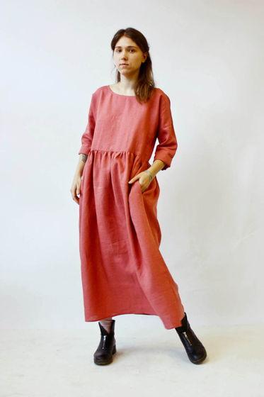Платье льняное, пыльная роза