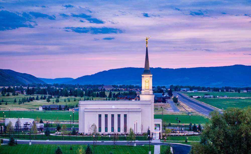 LDS art photo of the Star Valley Wyoming Temple and surrounding area.