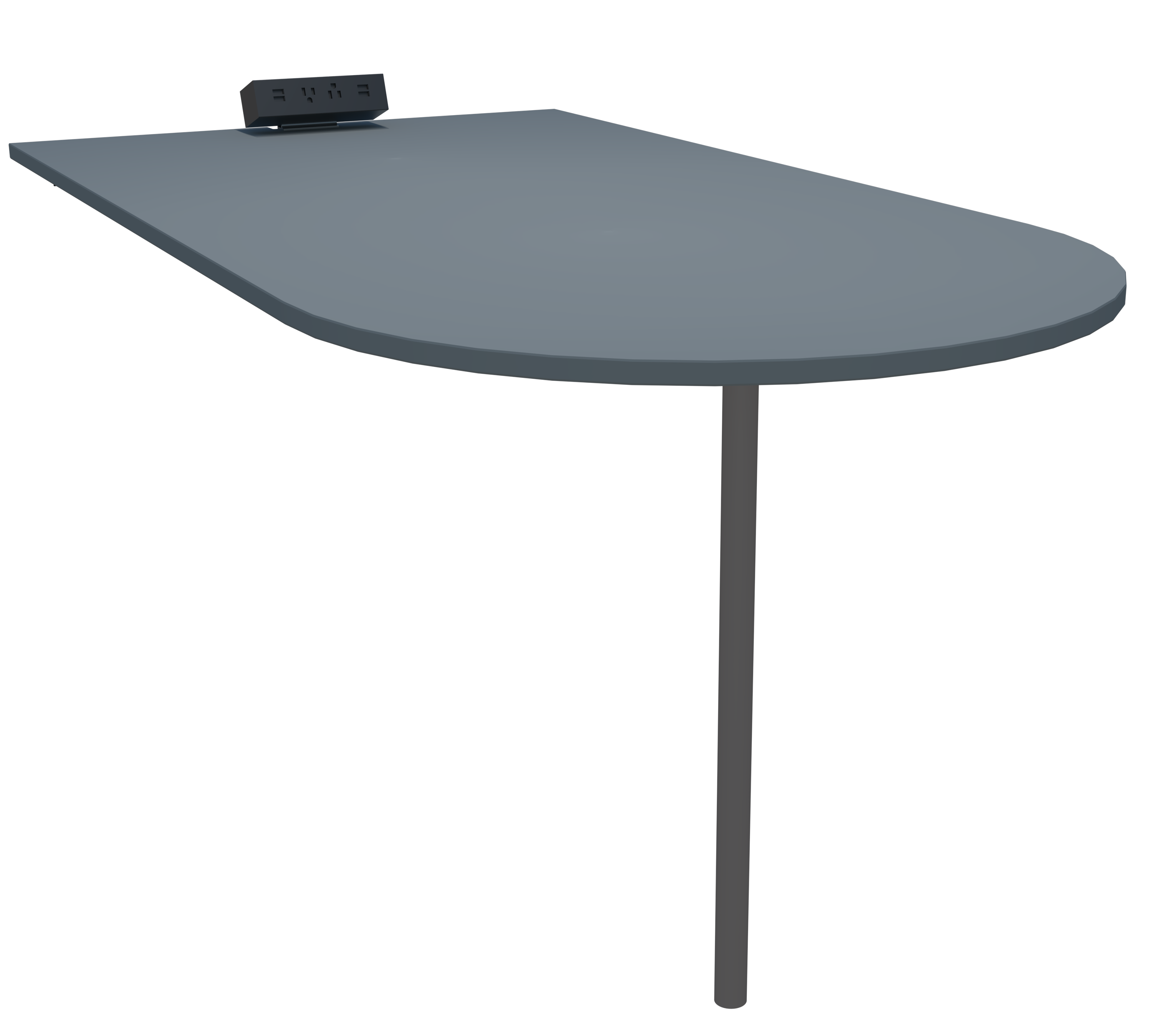 Grey, matte table for SnapCab Meet 6 meeting pod