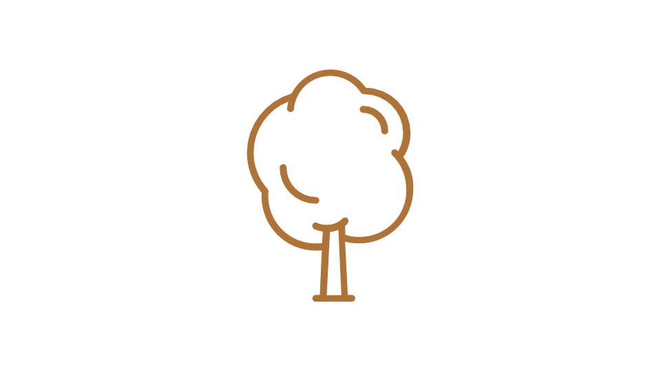 Orange image of a tree - icon style