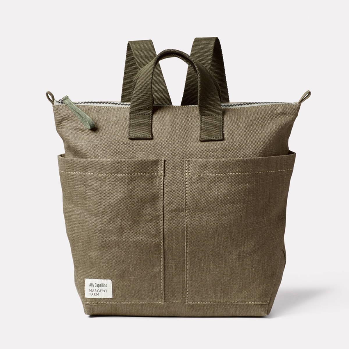 Ally Capellino X Margent Farm Hemp Backpack in Khaki