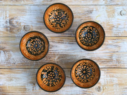 Набор желтых керамических соусниц (5 шт)