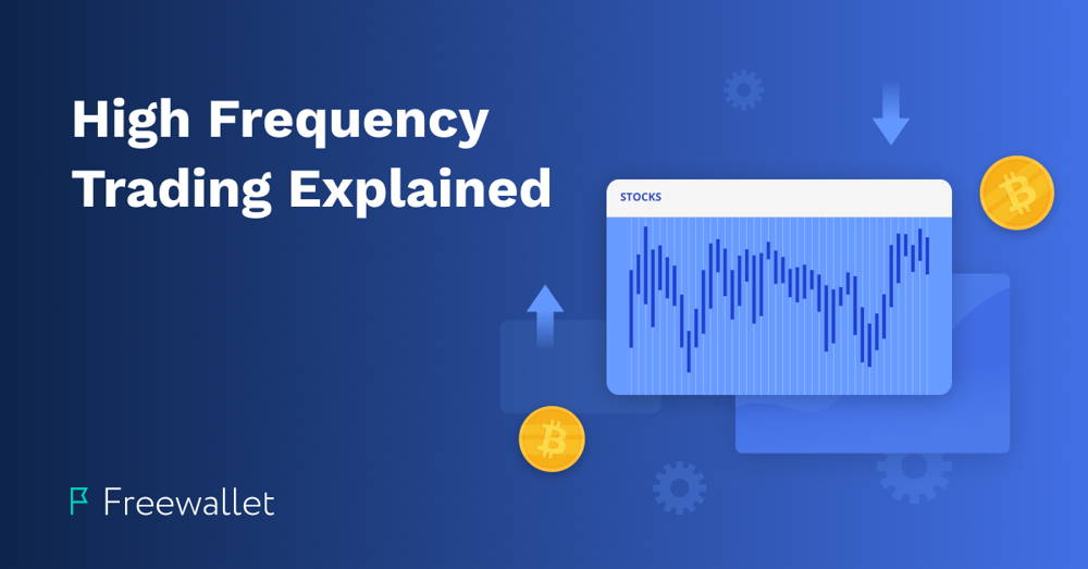 Cryptocurrency and stock trading chart on a blue background - High frequency trading explained