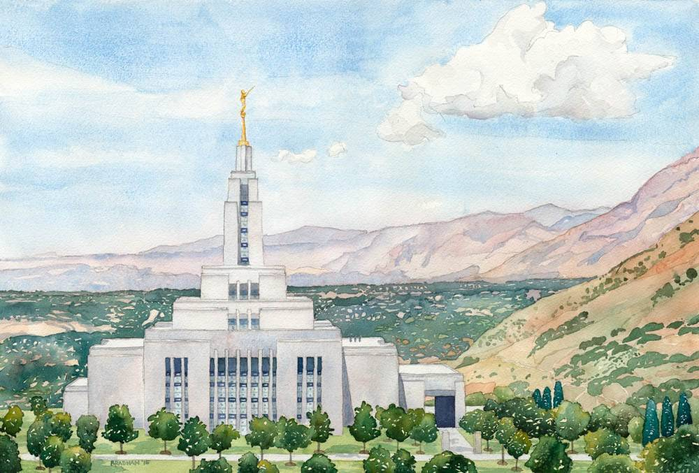 Detailed LDS art painting of the Draper Utah Temple.