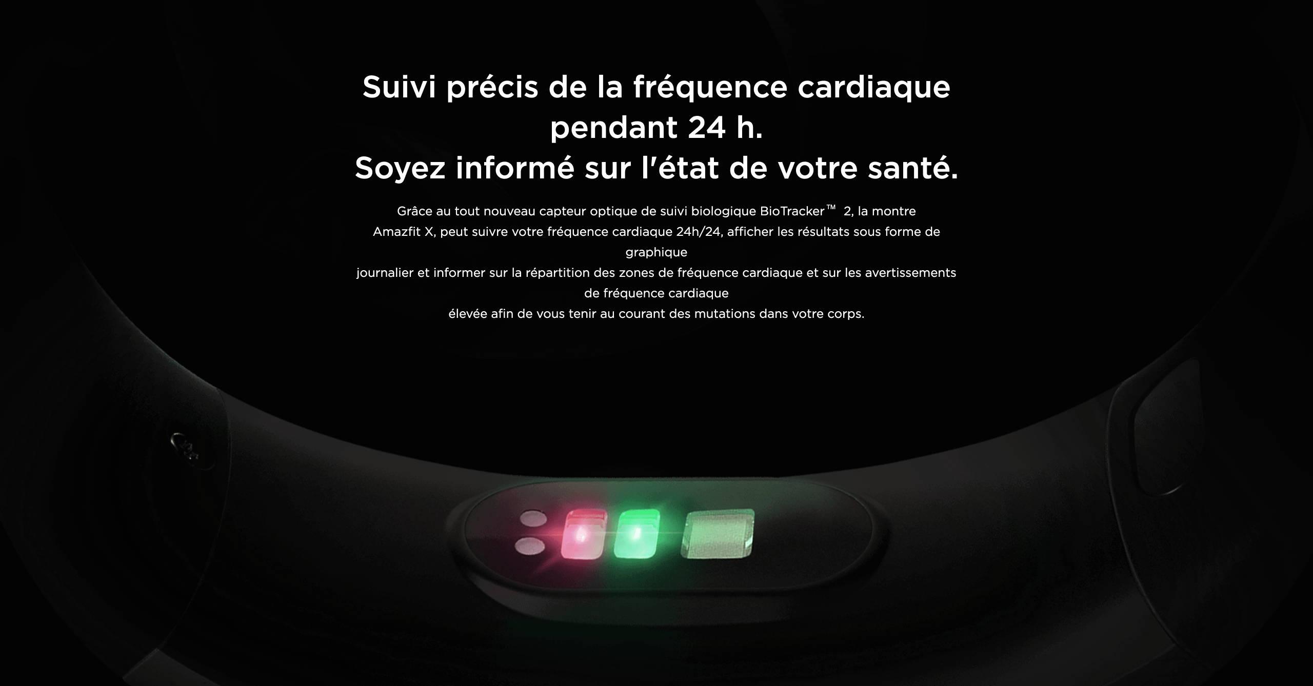 Amazfit X - Suivi précis de la fréquence cardiaque pendant 24 h.Soyez informé sur l'état de votre santé.