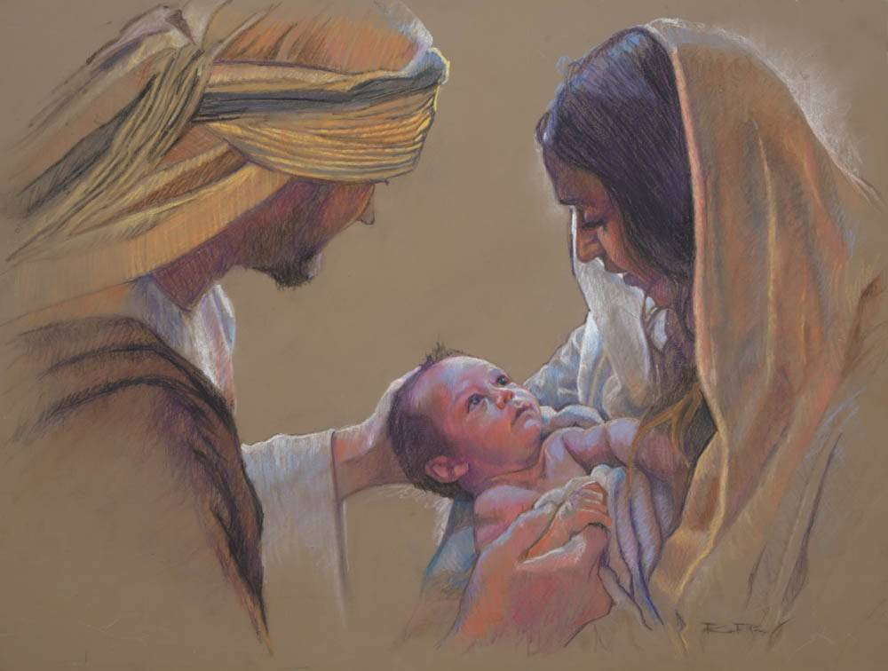 LDS art painting of the Holy Family.