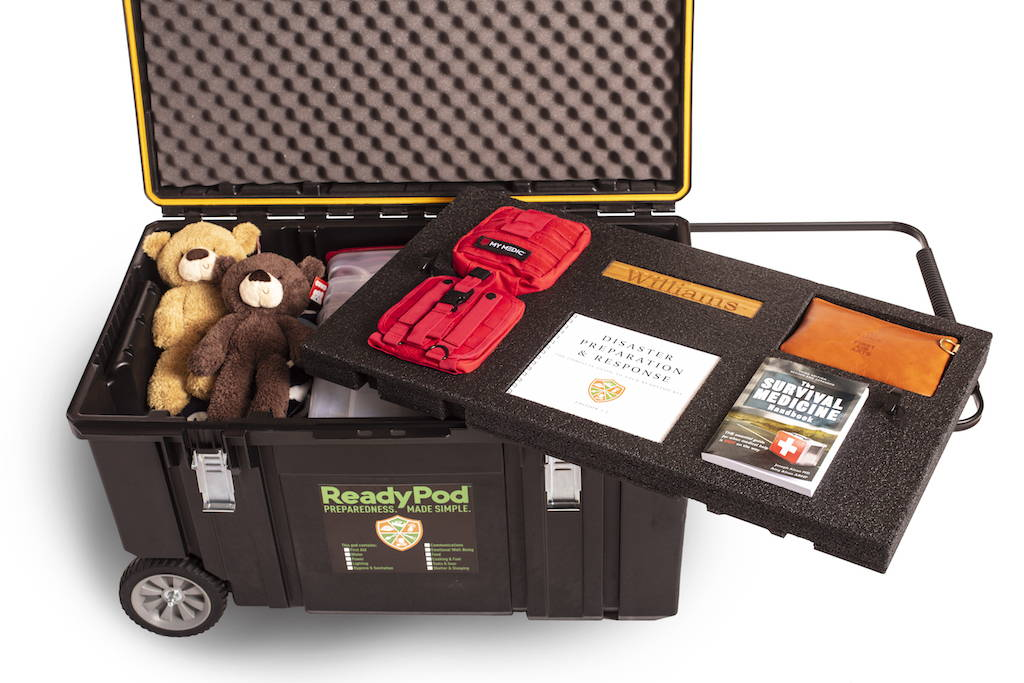 Each ReadyPod™ shelter-in-place trunk features a custom top shelf and is loaded with additional gear below