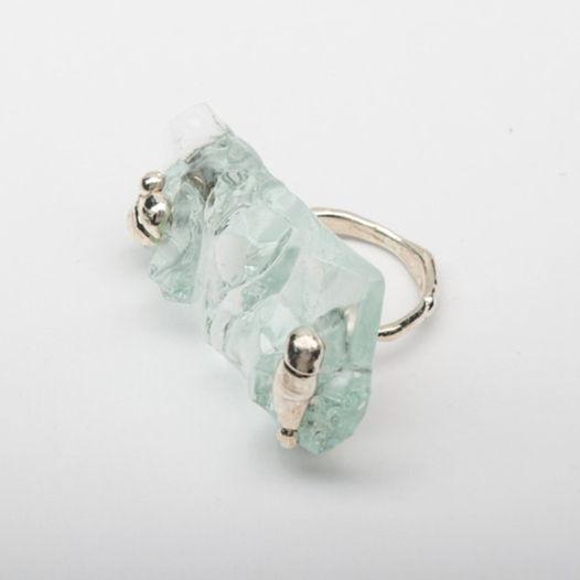 Кольцо из стекла Мятый лед