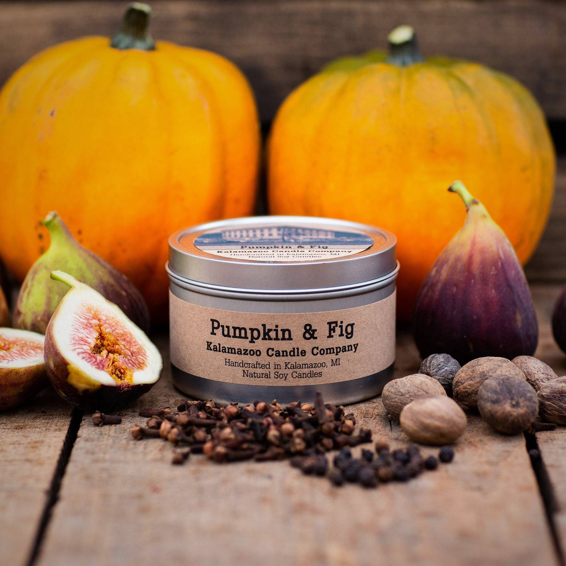 Pumpkin and Fig natural soy wax scented candle