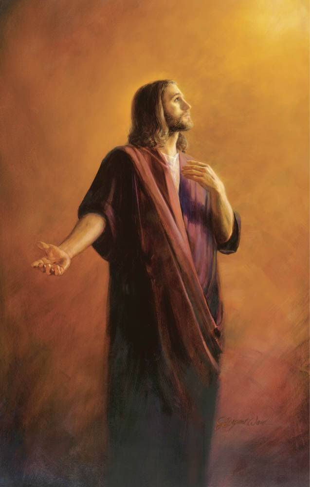 Colorful painting of Jesus looking upwards with HIs arm motioning toward the viewer.