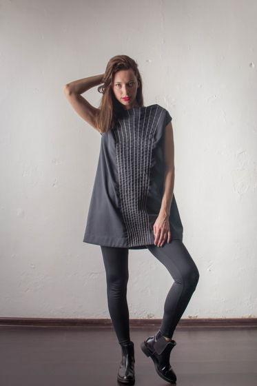 Платье из черного хлопка с настрочным шнуром PIRANIA