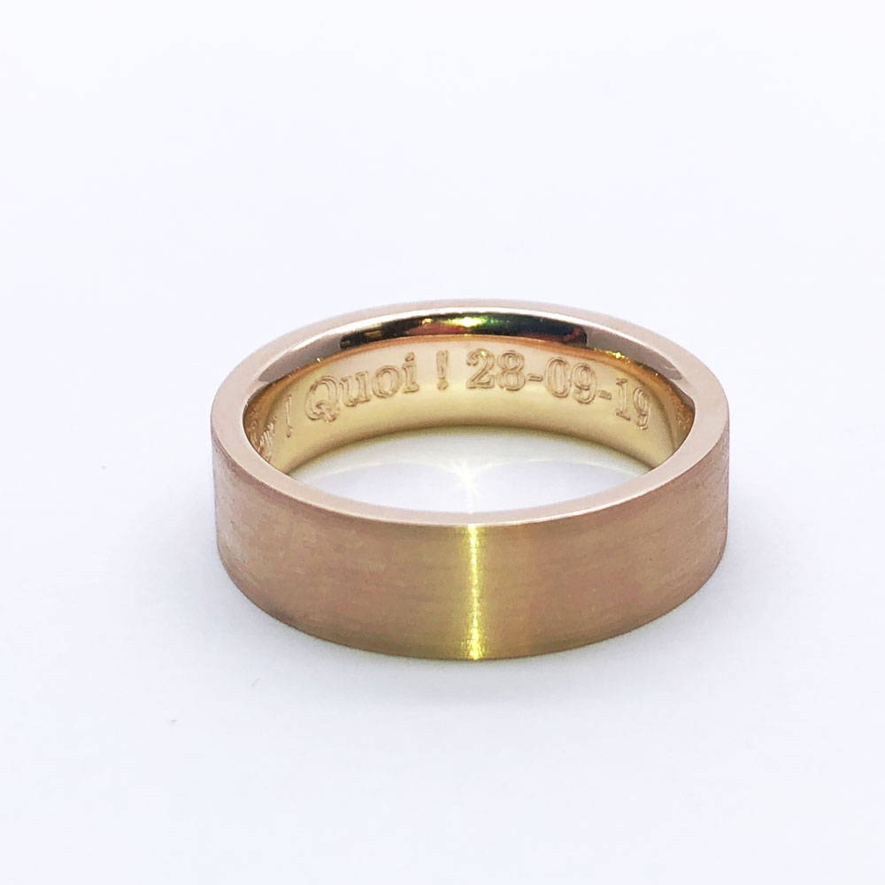 Brushed rose gold men's ring with date engraving inside