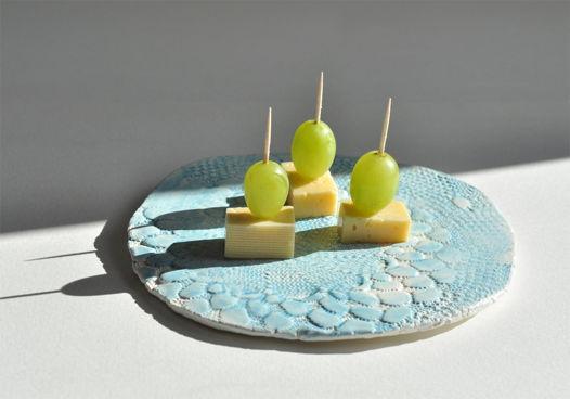 Блюдо сервировочное Blue cheese, керамика ручной работы.